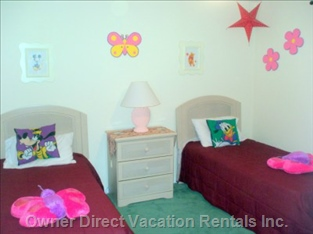 Themed Bedroom with 2 Twin Beds, Tv, and Dvd Player.