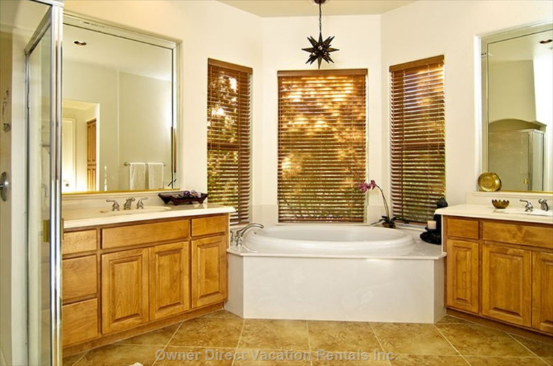 Soaker Tub and Separate Shower.