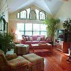 Great Room with Vaulted Ceiling, Pine Floors