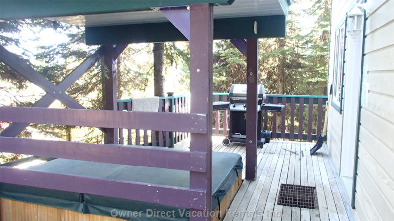 Comfortable Deck Right out the Back Door with Gas Bbq, Private Hot Tub and Private Locked Ski Locker (Not Shown)