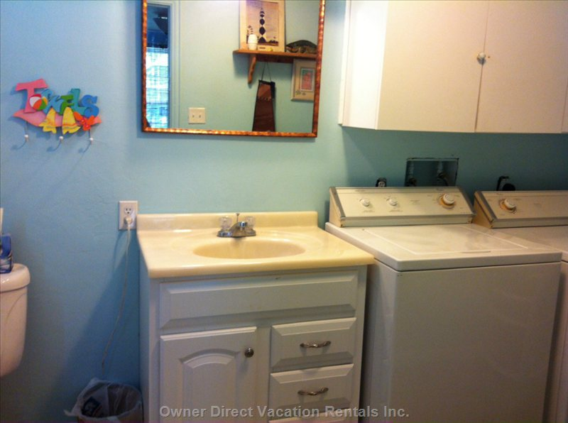 Downstairs Half Bath with Washer and Dryer