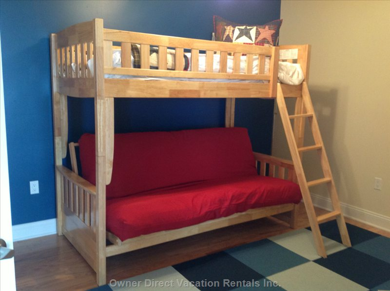 Third Bedroom with Bunk Bed.  Bottom is a Futon Sofa that Opens into a Full Size Bed