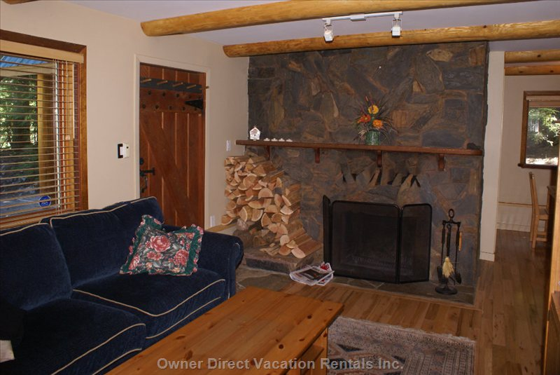 Wood Burning Fireplace in Living Room