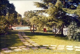 View from the Patio of the Garden of 2000sqm, with Swimming Pool
