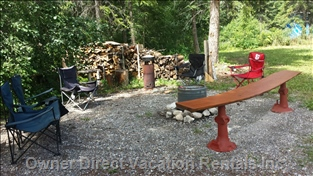 Fire Pit with Picnic Table and Lawn Chairs Provided
