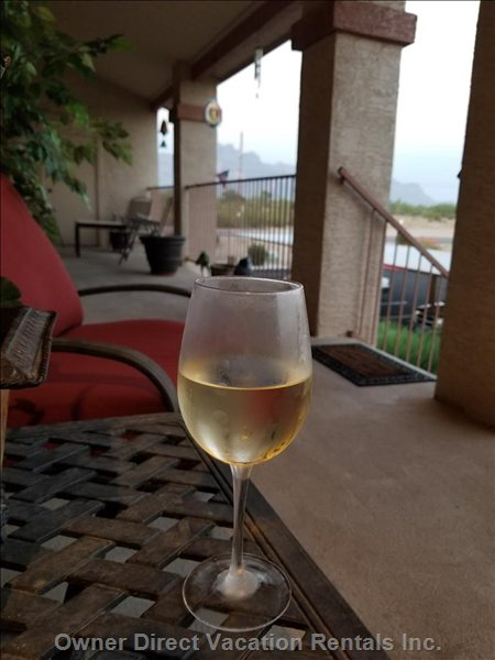 Enjoying Glass of Wine View of Superstition Mountains
