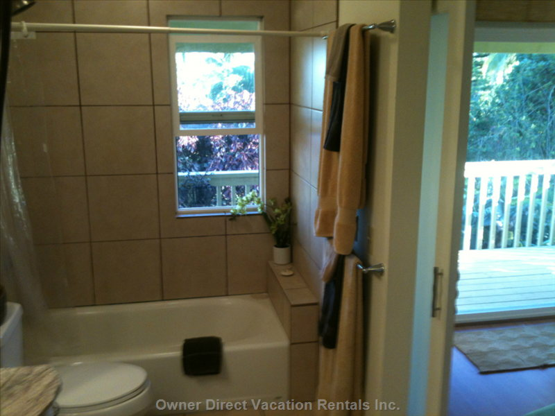Large Master Ensuite Bath has Walk in Closet and Dressing Area.