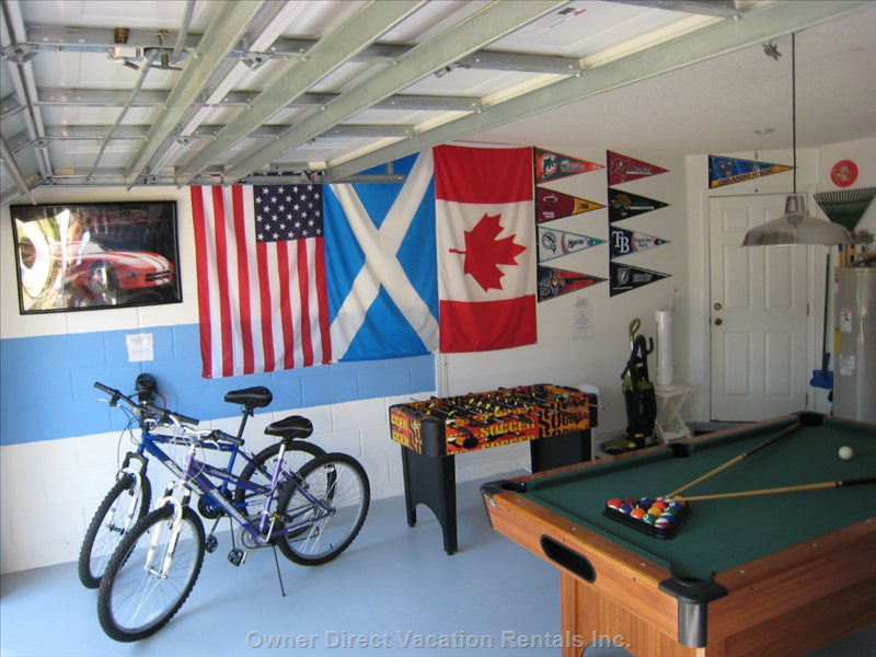 Games Room - Fully Equipped Games Room with Pool Table, Fussball, Air-hockey. Houses Washer and Dryer, Iron and Ironing Board. 2 Adult Cycles Tennis Racquets (Free Courts on Site)