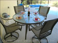 AL Fresco Dining - Covered Lanai with Outdoor Fan with Table & Chairs.