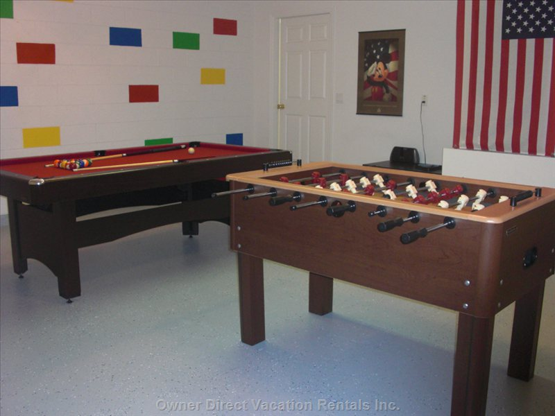 Games Room with Pool Table, Football Table and Dart Board