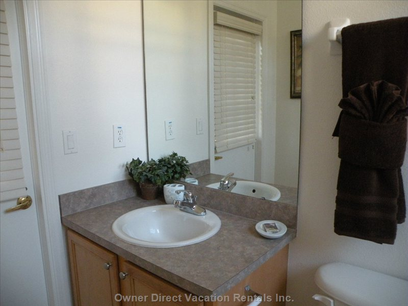 Master Ensuite with Toilet (Accessible from Pool Area), Shower and Sink