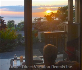 Watching the Sun Set from our Lanai