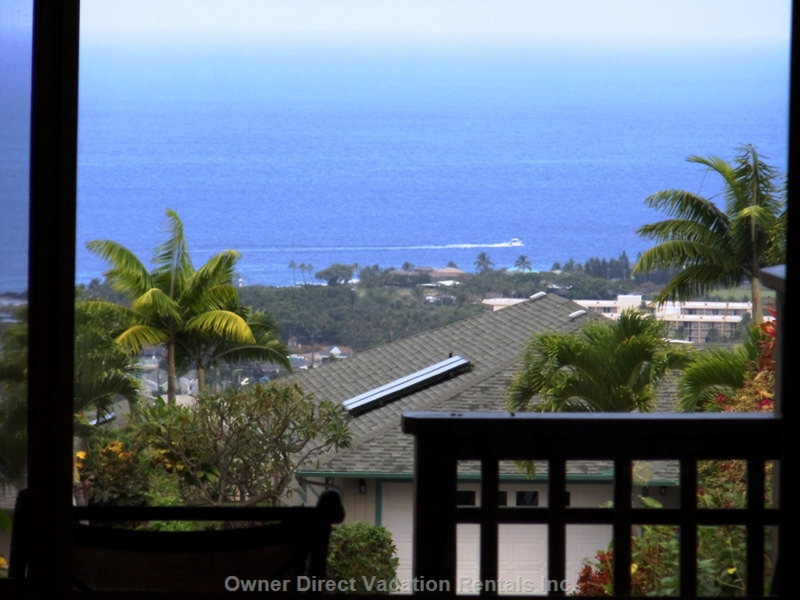 View from Lanai - Relax While Watching the Ocean Activity. You Can Clearly View the Church Steeple and the Waves along the Shore.