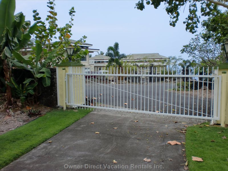 Front Gate Leading into the Property - Private Front Gate to the Property at the Top of the Hill.  There Are Only Five Houses of 1/2 Acre each on this Cul DE Sac.  Very Private and Quiet Yet Close to Kona