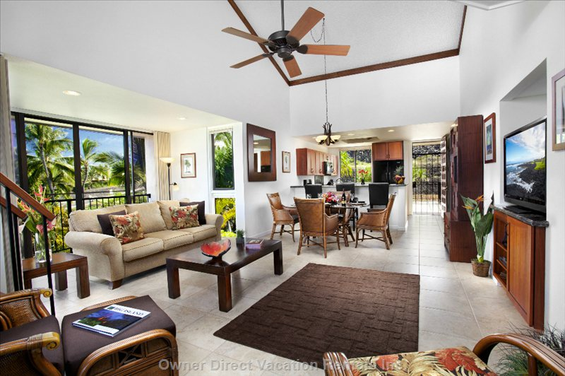 Main Living / Dinning Areas with View of Kitchen and Second Lanai