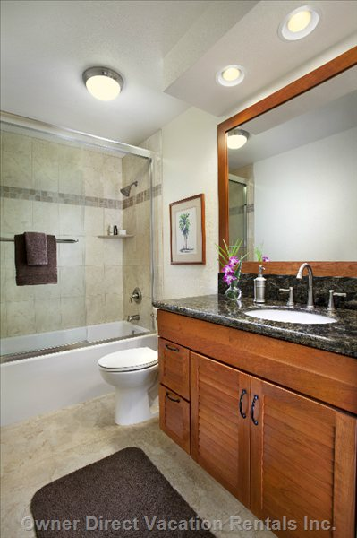 2nd Bathroom with Elegant Vanity, Bath, Shower, Washer and Dryer