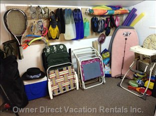 Loft Storage Space with Assorted Equipment for the Beach, Snorkeling, Boogie Boarding, Fishing, Tennis Etc