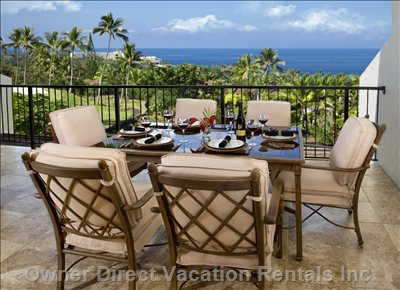 One of Two Ocean Facing Lanai's - W/ 6 Seat Dinning Set, Gas Grill Barbecue, and Elegant Serving Station.