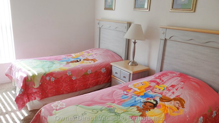 Twin Bedroom #2 Showing the Disney Theme Bedding that is Available If you are Traveling with Small Children