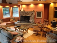 Living Room with Wood Fireplace and Ample Seating