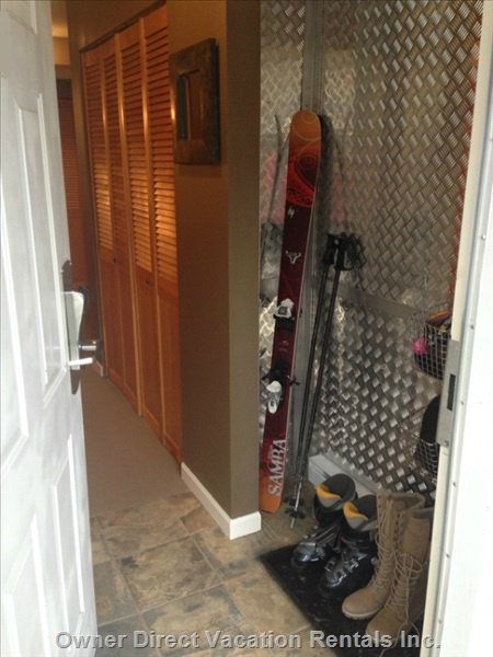 Front Entry, Excellent Storage for Ski Equipment.