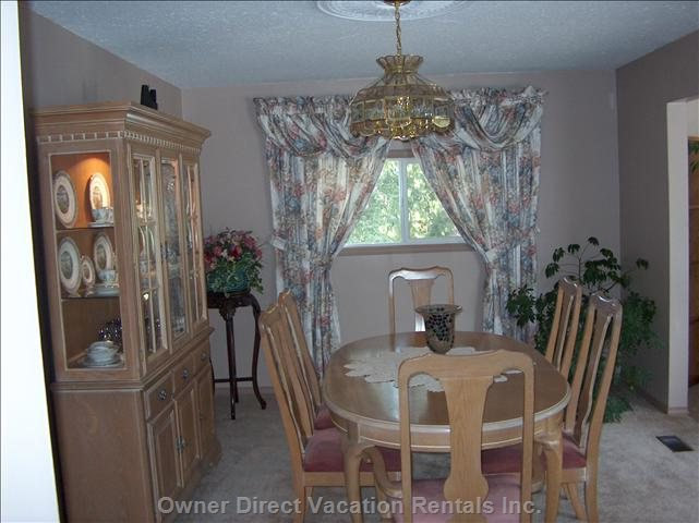 Dining Room with China & Silverware/Serving Platters Etc.