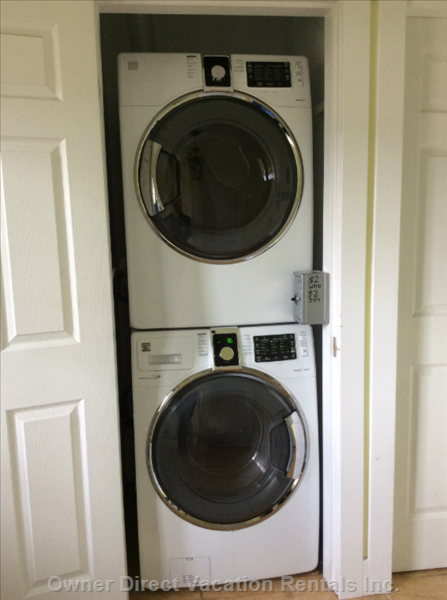 Common Full Size Stackable Washer/Dryer. New in 2015.  $2/Wash, $2/Dry