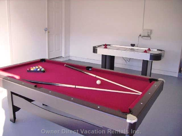 Games Room with Full Size Air Hockey & Pool Tables
