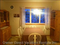Large Eat in Kitchen with Mountain Views, Eating for 6, Hutch and Shelf for Food Storage.