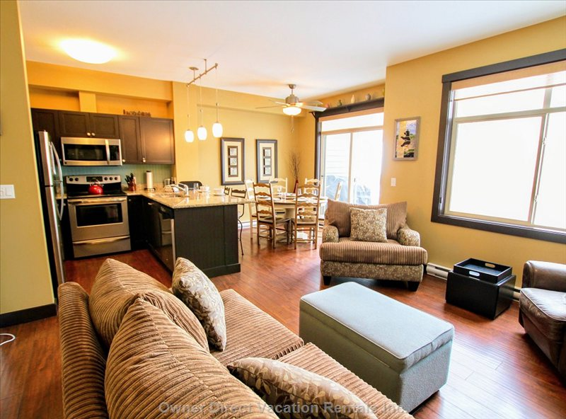 Main Living Area with Fully Equipped Kitchen, Dining Space and Living Area with Gas Fireplace