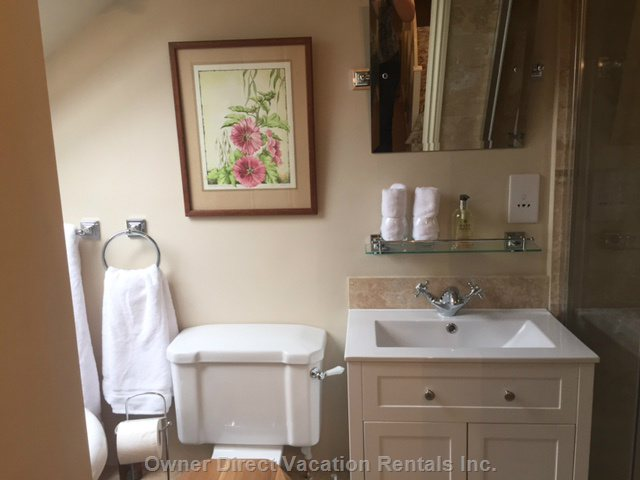 Master En Suite Bathroom with Double Ended Bath plus Separate Shower, Vanity Sink and Toilet
