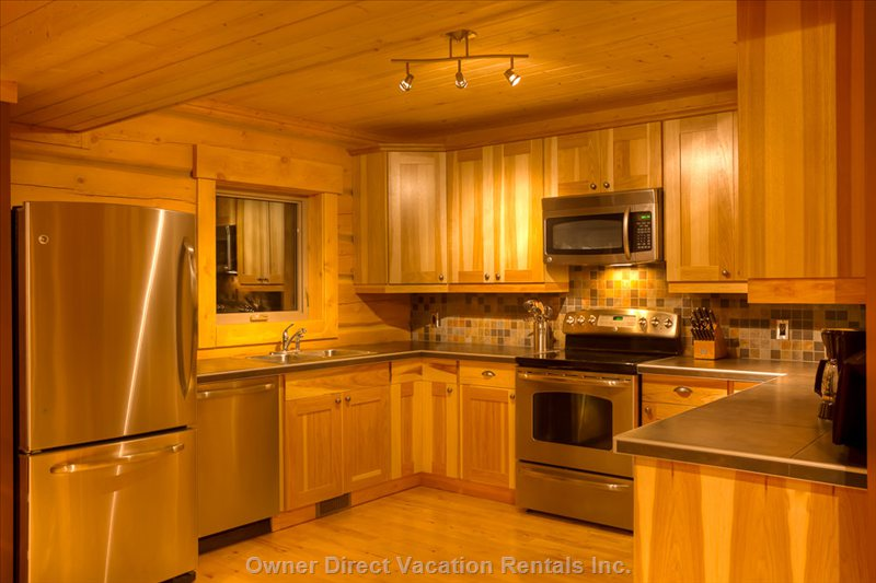 Eagle Lodge - Hickory Kitchen with Stainless Steel Fridge/Freezer, over, Microwave, Dishwasher