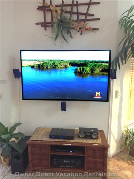 "65"" Samsung 4k Tv with Directv Dvr, Netflix, and Library of Dvd's"