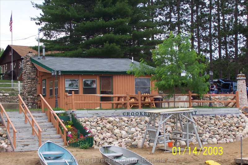 Cabin is 25 Ft from Lake. Has 2 Bedrooms with a Full Size Beds + Twin Bed. Completely Furnished Dining Room, Kitchen, Living Room .