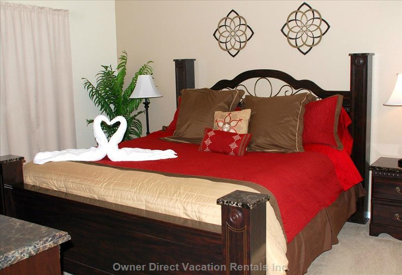 Master Bedroom with Chest, Dresser & Mirror, Ceiling Fan, Lcd Tv & Dvd Player.  Large Ensuite and Walk in Closet.