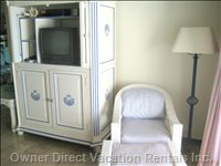 Bedroom Tv and Chair and Floor Lamp