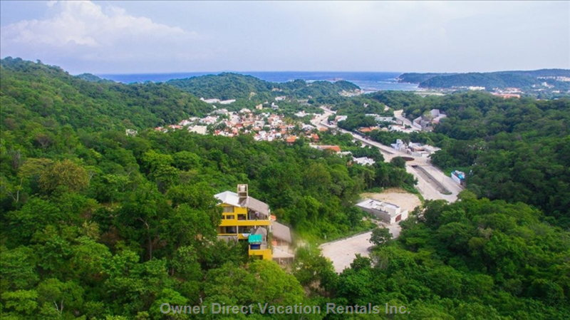 Heavenly Villa Huatulco is on a Hill Overlooking the Pacific Ocean and the Gated Community Called Sector O..