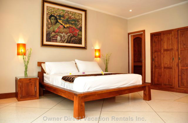 The Master Suite Occupies the Entire Upper Level of the Villa. Private Lanai and 1000-Thread-Count Sheets on King Bed.