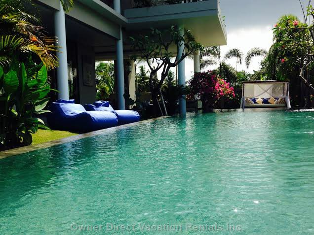 Infinity Pool and Lounging Bags