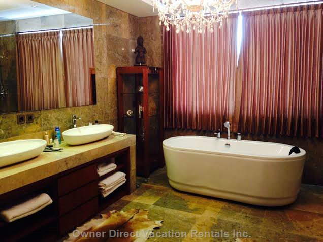 Elegant Bathroom with Master Bedroom with Full Amenities Including Walk in Shower and Free Standing Bath and Chandelier