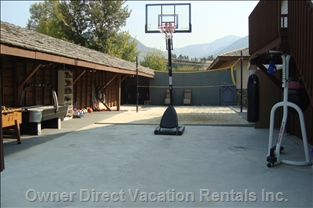 Basketball Area with Air Hockey Machine, Punching Bag, Speed Bag & Uppercut Bag, Crossfit Rings for Training (Basketballs Included)