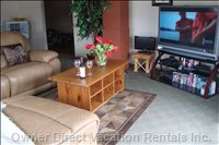 Living Room 50 Inch hd Sony Wide Screen with Bell Satellite & Netflix, Playstation 2 & Games, Sony Blu-Ray, Wi Fi