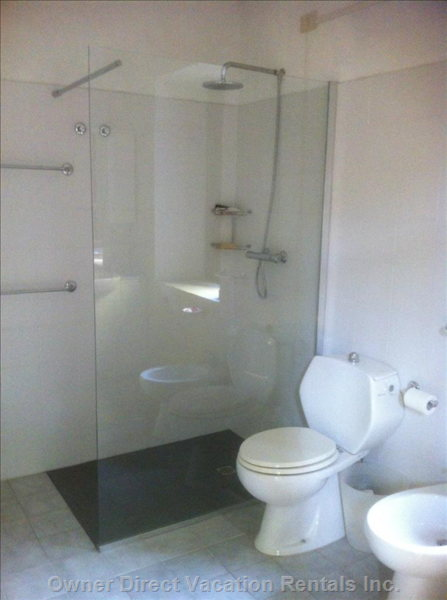 Brand New Wet Area Shower in Bathroom, with Vanity, Bidet, Toilet and Washing Machine