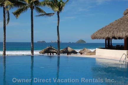 Adult Infinity Pool with Palapa Bar Overlooking the Beach