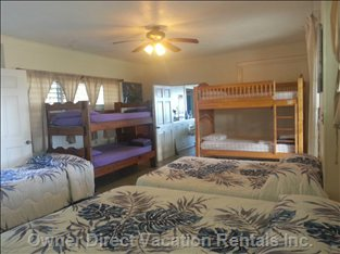 2nd Bedroom with a Variety of Beds to Choose from - Queen, Full, many Twin Beds. This Room as has a Direct Access to the Outside Patio