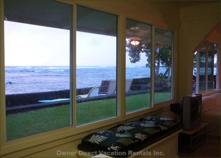 Livingroom has Wonderful Ocean Views, Internet, Local Phone & Satelite TV with DVD Player