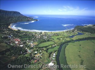 Hanalei Bay and Town - 2 Miles Away