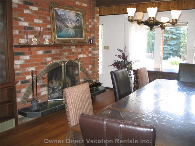Large Dining Room with Fireplace Easily Sits 12