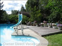 Sun Deck by Swimming Pool - the Slide Turns into a Water Slide