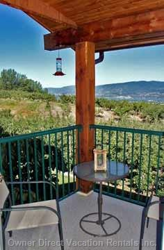 Deck Overlooking City, Orchards and Lake